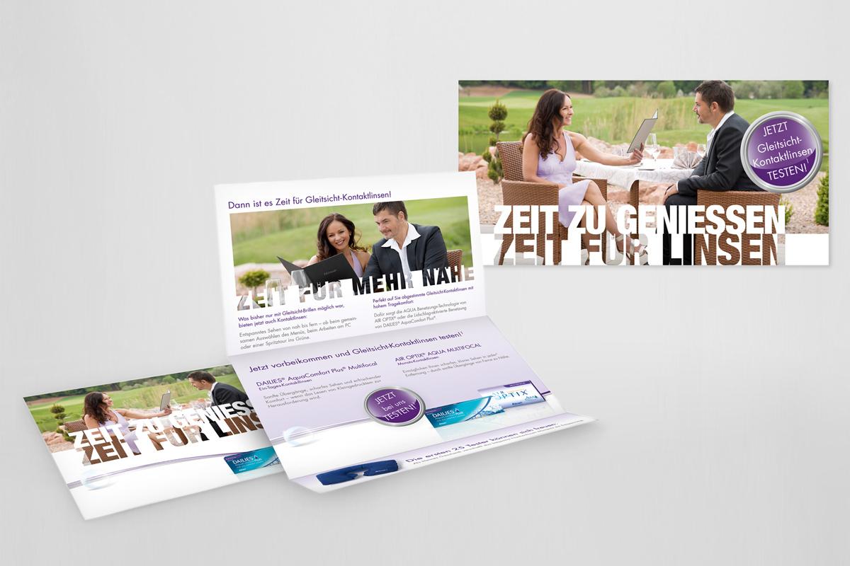 Alcon_Referenz: Werbemittelgestaltung Selfmailer, Druck, Flyer,